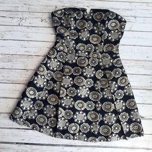 HOLLISTER Mini Strapless Dress Gold Medallions 5